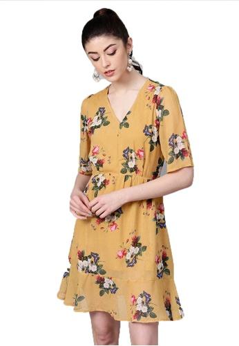 SASSAFRAS yellow Mustard Floral Frill Hem Skater Dress 9B8CFAAA30AE76GS_1