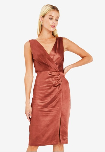 FORCAST brown Lola Crossover Dress 429F2AACC4C859GS_1