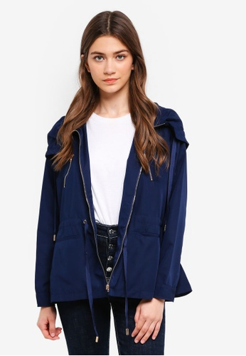 Something Borrowed navy Hooded Parka With Zipper Details C99E6AABA8C64DGS_1