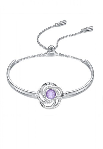 Glamorousky silver Elegant Fashion Camellia Flower Bracelet with Austrian Element Crystal FF25AAC7DA1E54GS_1