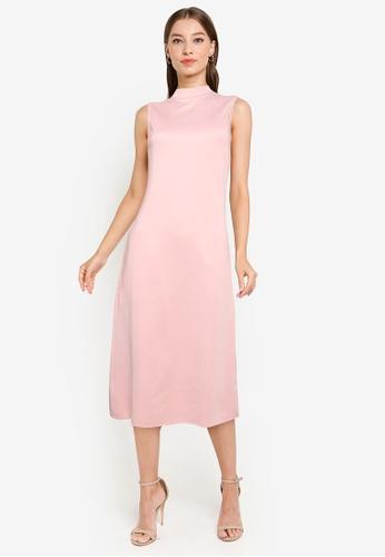 ZALORA WORK pink Mock Neck Midi Dress 59CA6AA59D4EDFGS_1