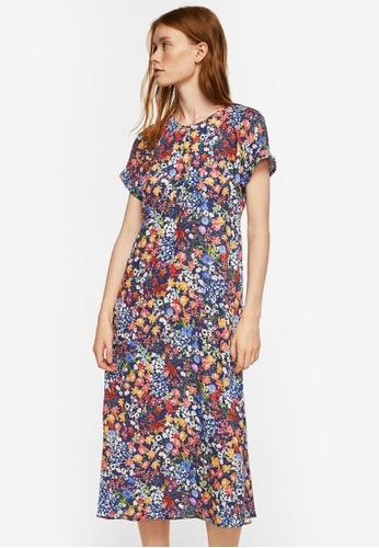 Mango blue Floral Print Dress D695EAA41179ABGS_1