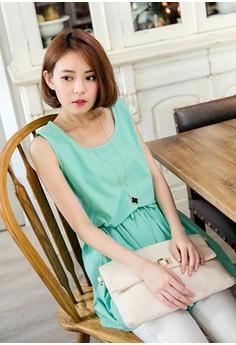 [OB] Basic Drawstring Waist Sleeveless Dress