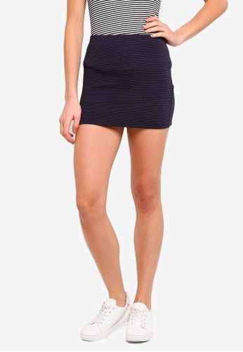 ZALORA BASICS navy Basic Textured Bandage Mini Skirt 78B5BAA9B6861CGS_1