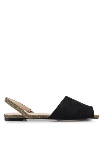 ZALORA 黑色 後繞帶平底鞋 1ECFESHD1899ABGS_1
