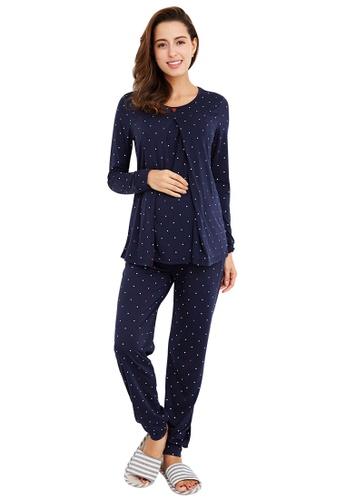 Mamaway navy Mickey Dotty Maternity & Nursing Pajamas/ Sleepwear Set 2A2E0AA6CB2844GS_1
