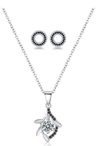 A-Excellence white Premium Elegant White Sliver Necklace Earring Set A707CAC5276D87GS_1