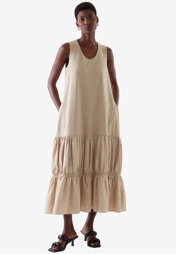 COS beige Tiered Dress ABA01AA31EDF5BGS_1