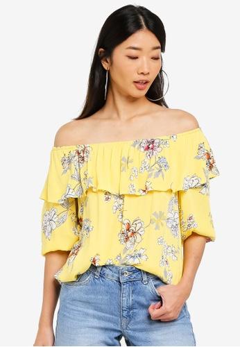 09d30c1db44b40 Shop LC Waikiki Floral off shoulder Blouse Online on ZALORA Philippines