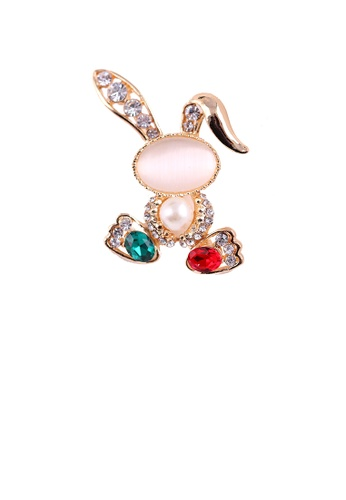 Glamorousky white Fashion and Cute Plated Gold Rabbit Opal Brooch with Cubic Zirconia 35AACAC4F2DEF1GS_1