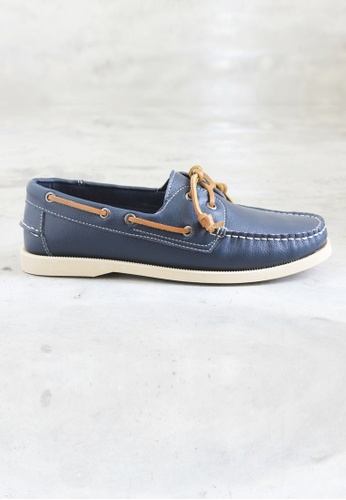 Moley blue and navy Genuine Leather Classic Boat Shoe MO329SH42PYFSG_1