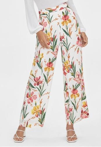 Pomelo white Wide Leg Floral Print Pants - White 4E415AAACB13E5GS_1