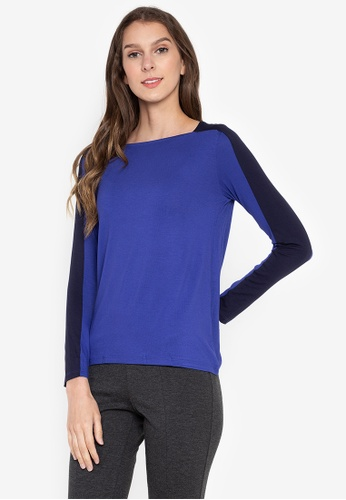 MARKS & SPENCER blue Long Sleeve Square Neck Top A2C41AAB454F00GS_1