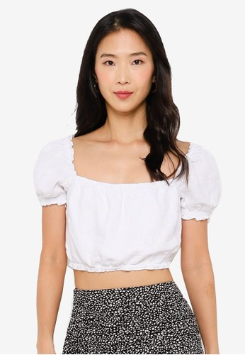 Abercrombie & Fitch white Ruched Set Top 433D6AA2B5B0D2GS_1