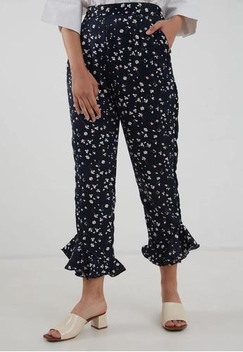 Berrybenka Label blue Amanda Floral Pants Navy KA896AA41OOKPH_1