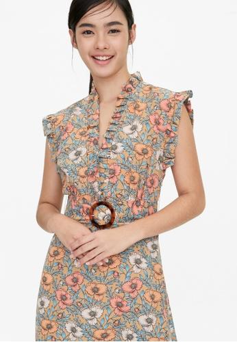 Pomelo multi Frill Hem Belted Floral Dress - Beige 3C161AA994A73CGS_1