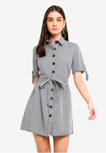 b2820348 Miss Selfridge black Black Gingham Tie Front Shirt Dress 10578AAAD02422GS_1