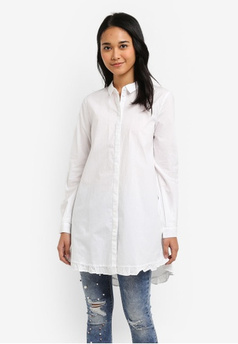 ONLY white Monique Long Sleeve Long Woven Shirt B56E4AA53AB04FGS_1