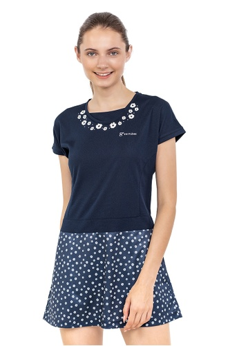 Huitieme navy HUITIÈME DRI FIT FLORAL PANEL NAVY DRESS. CCD73AA2340078GS_1