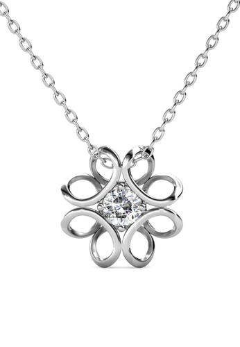 Her Jewellery silver Swarovski® Crystals - Daffodil Pendant (18K White Gold Plated) Her Jewellery 4E1FAAC9461CEDGS_1