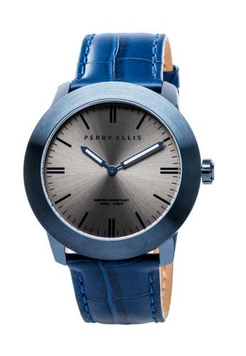 PERRY ELLIS blue Perry Ellis Slim Line Unisex 42mm Quartz Watch 07005-01 A058FACE491CFBGS_1
