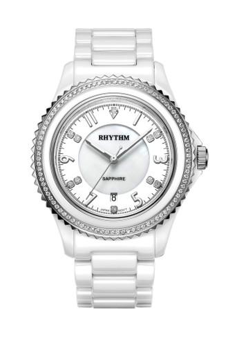 Rhythm C1301C 01 - Jam Tangan Wanita - Ceramic - White Silver