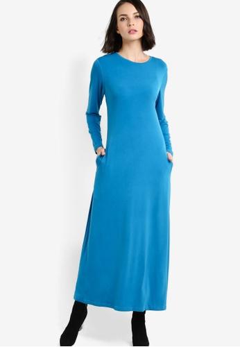 Zariya blue Long Sleeve Jubah ZA223AA87KQQMY_1