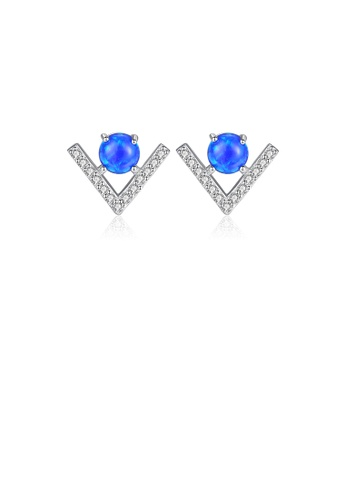 Glamorousky white 925 Sterling Silver Fashion Simple Geometric V-shaped Blue Imitation Opal Stud Earrings with Cubic Zirconia EB7FCACB301785GS_1