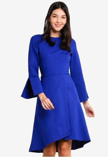CLOSET 藍色 長袖交叉造型洋裝 39294AA7C32546GS_1