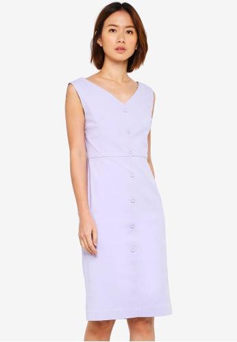 NAIN purple V Neck Button Down Dress 1E1A9AA995537FGS_1