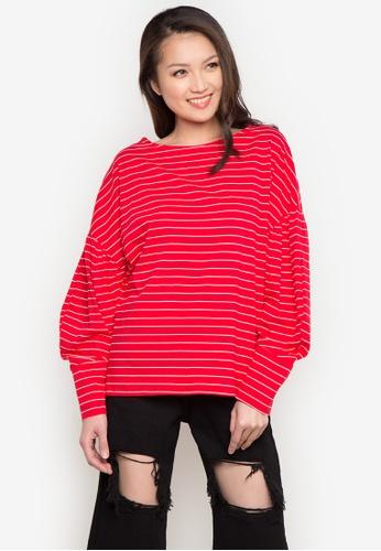 Spring Fling red Striped Oversized Top SP673AA0JTZOPH_1