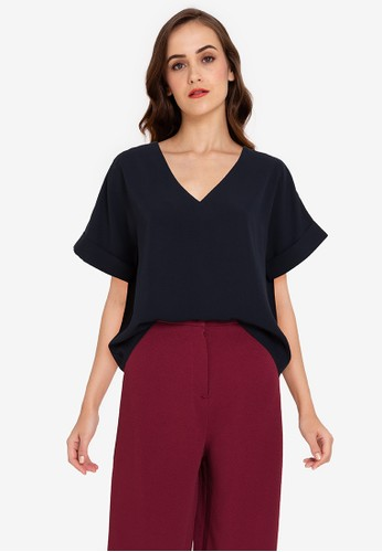ZALORA WORK navy Rolled Up Cuff V Neck Top F0AB3AADF572F0GS_1