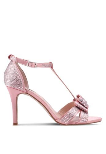 Dorothy Perkins 粉紅色 金屬感閃亮蝴蝶結高跟鞋 27B3BSH24D99F7GS_1