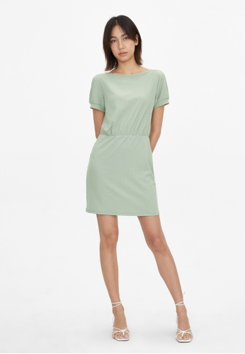Pomelo green V Open Back Ribbed Dress - Green 295FDAAF1FC31BGS_1