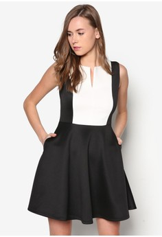 Collection Contrast Bib Fit& Flare Dress