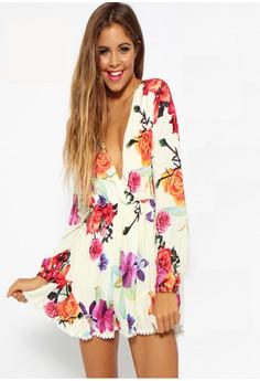 V-Neck Floral Jumpsuit