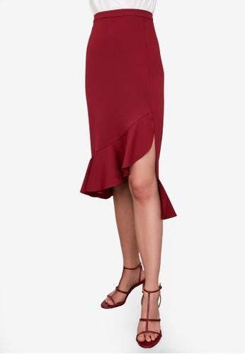 Trendyol red High Waist Ruffle Hem Skirt 5FDAFAA9B94040GS_1