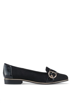 a124f51be61c0 River Island black Black Gold Tone Buckle Loafers 115BDSH603CFCBGS 1