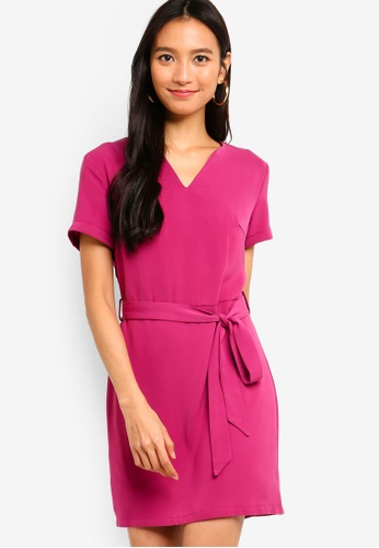 ZALORA pink Short Sleeves Notch Neck Shift Dress F4C73AA347EA25GS_1