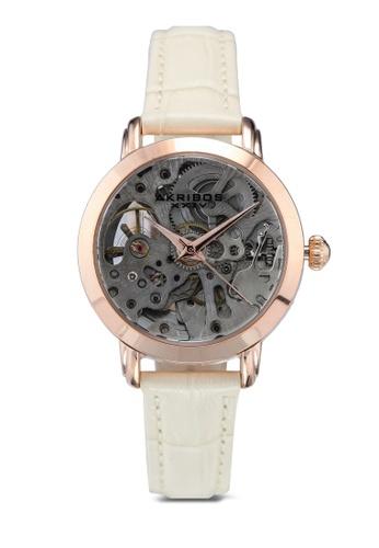 Akribos XXIV beige Automatic Skeletal Watch D2441ACE98D52DGS_1