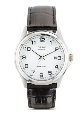 簡約三指針暗紋皮革圓錶, 錶類, 飾esprit outlet台北品配件