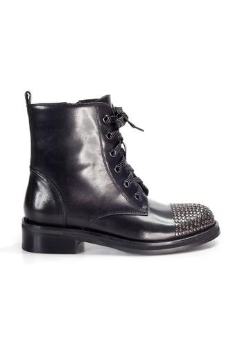 Shu Talk black AMAZTEP Rocky Punky Mid-Calf leather boots 5F26BSHCC11F41GS_1