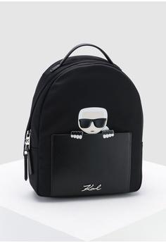 56d501bc8104 KARL LAGERFELD black Ikonik Nylon Small Backpack 24F1EAC58E4BAEGS 1