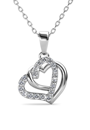 Her Jewellery silver Swarovski® Crystals -Vena Love Pendant  (18K White Gold Plated) Her Jewellery 37CA0AC90539A3GS_1