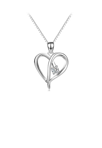 Glamorousky white 925 Sterling Silver Simple Temperament Heart-shaped Pendant with Cubic Zirconia and Necklace 7A848AC8497E7BGS_1