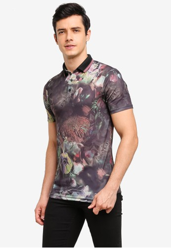 River Island black Floral Muscle Fit Polo Shirt 33339AAEAD1AE1GS_1