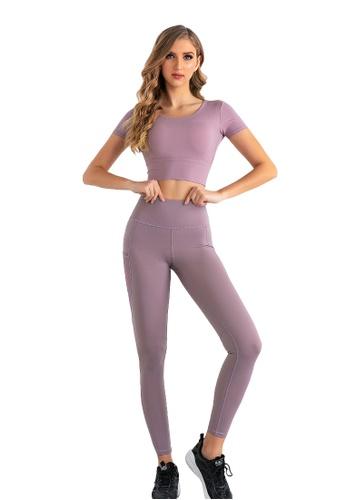 B-Code purple ZUU3019-Lady Quick Drying Running Fitness Yoga Leggings-Purple 01E0FAA6900556GS_1