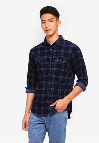 Cotton On 藍色 長袖格紋襯衫 255A9AA09F0A12GS_1