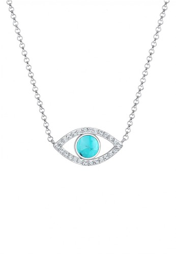 Elli Germany silver Perhiasan Wanita Perak Asli - Silver Kalung Mata dengan Howlite & Crystal 6A782AC99D207FGS_1
