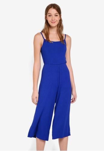 OVS blue Ribbed Jumpsuit C7865AAD331748GS_1